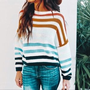 • nwot ➳ vici cotton striped knit sweater •